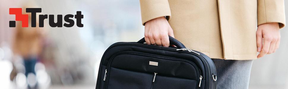 TRUST Sydney Borsa Custodia Laptop aziendale si adatta da 17.3 pollici-Nero