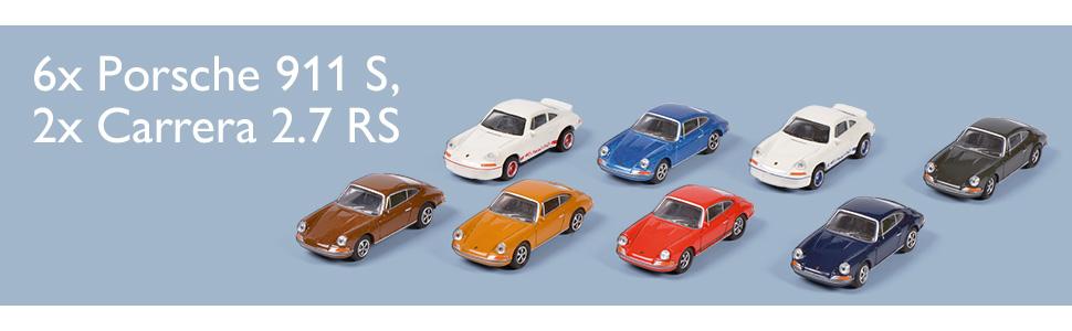 Schuco 452650200 Porsche 911 8 Er Set Bestehend Aus 6x 911 S 2x Carrera 2 7 Rs Ladegut Modellauto 1 87 Mehrfarbig Spielzeug