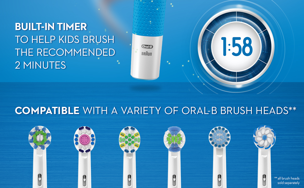 Oral-B Kids Electric Toothbrush built-in timer & compatible with variety Oral-B brush heads