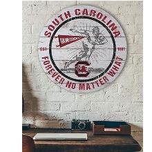 South Carolina Gamecocks Throwback Weathered Circle Wall Art