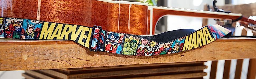 Marvel Comics Guitar Strap Retro Block Acoustic Electric String Thor Spiderman Hulk Iron Man Captain