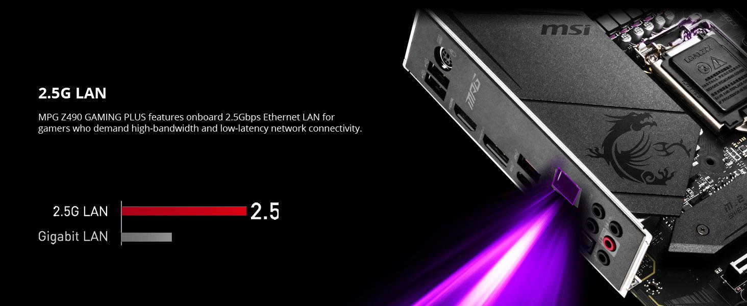 msi, mpg z490 gaming plus, 2.5g lan, gigabit Ethernet, wired internet