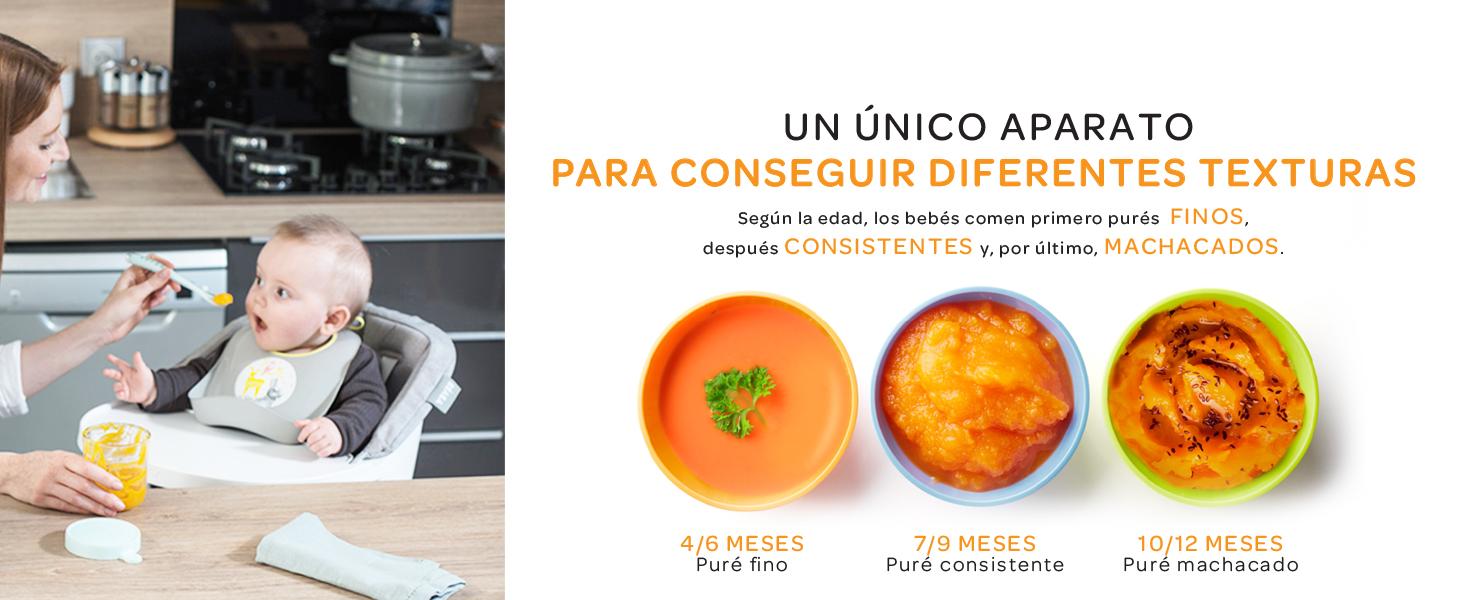 Béaba Babycook Solo Robot de cocina infantil 4 en 1, Tritura, cocina y cuece al vapor, Cocción rápida, Comida casera y deliciosa para bebés y niños, Comida variada para tu bebé, Blanco/Plateado: