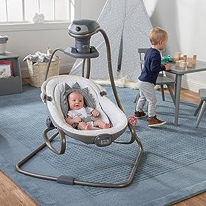 boppy, swing, baby swing, baby, dinosaur, head support, stroller accessory, body support