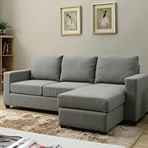 NHI Express 73022-40GY Alexandra Convertible Sectional, Grey