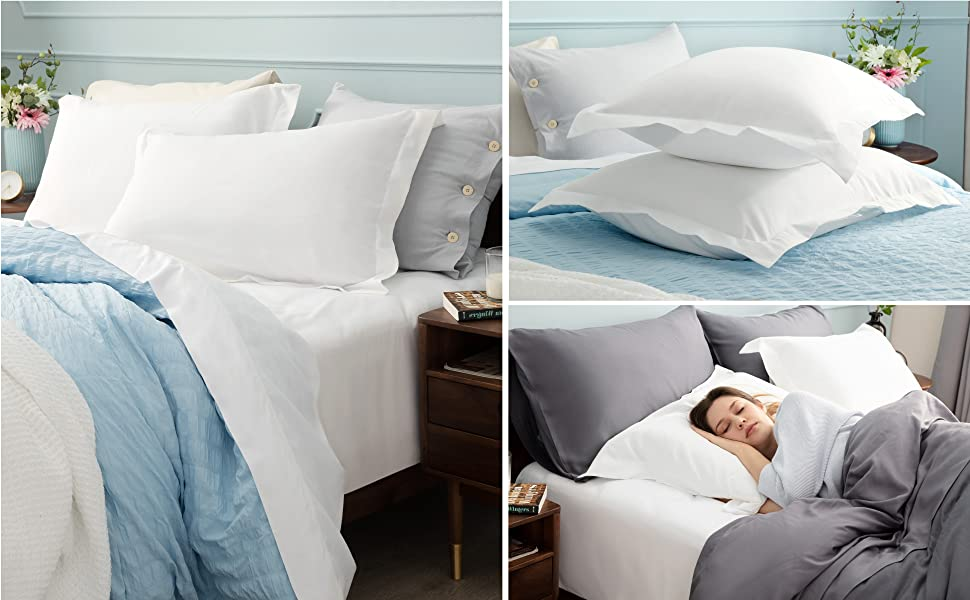 Bedsure Brushed Microfiber Pillow Shams Set of 2 - Super Soft and Cozy