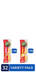 RITZ Peanut Butter Sandwich Cracker Snacks and Cheese Sandwich Crackers, Snack Crackers Variety Pack