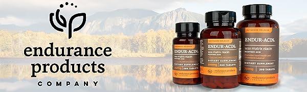 endurance products company logo and endur-acin bottles