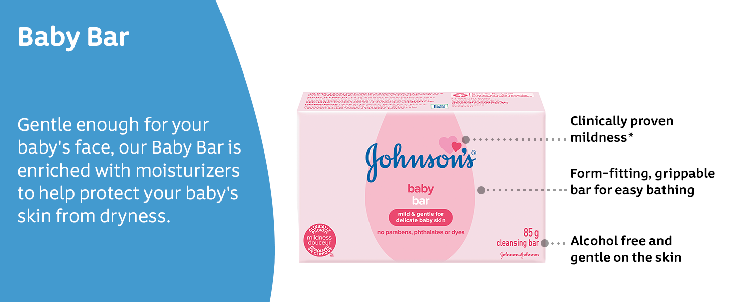 Gentle enough for your baby's face, our Baby Bar is enriched with moisturizers