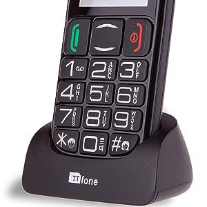TTfone Mercury 2 TT200 - Teléfono móvil Libre (básico para Mayores, con Botones Grandes, con Base de Carga) Color Negro: Amazon.es: Electrónica
