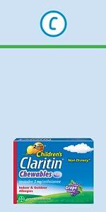 Children's Claritin 24 Hour Non-Drowsy Allergy Chewable Tablets childrens claritin chewable tablet