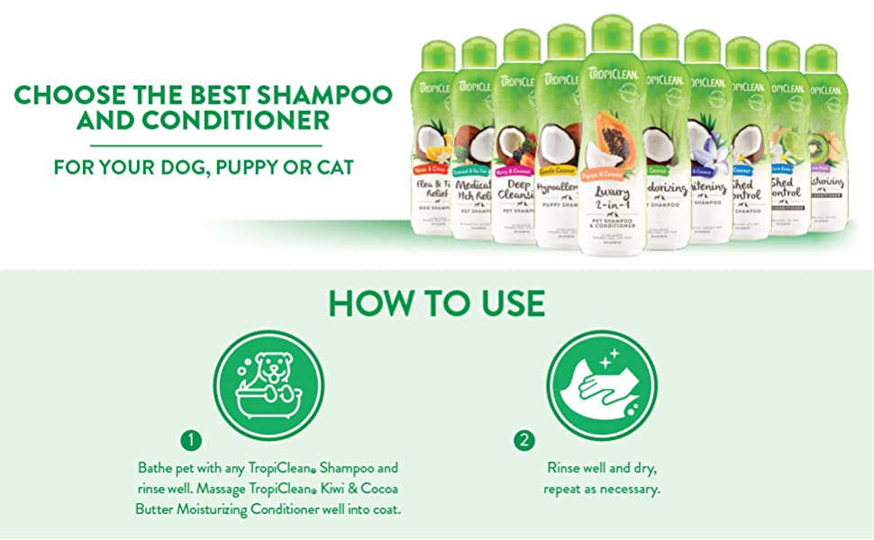 choose the best shampoo & conditioner for your dog, puppy or cat