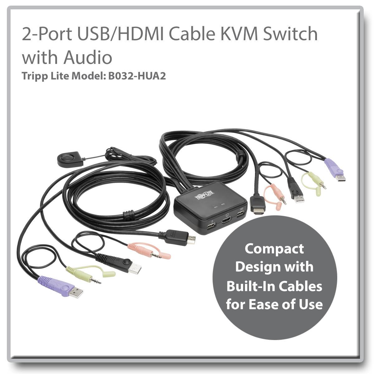 Electronics PW-SH0201B 2x1 HDMI KVM Switch 2 Port Box,UHD 4K