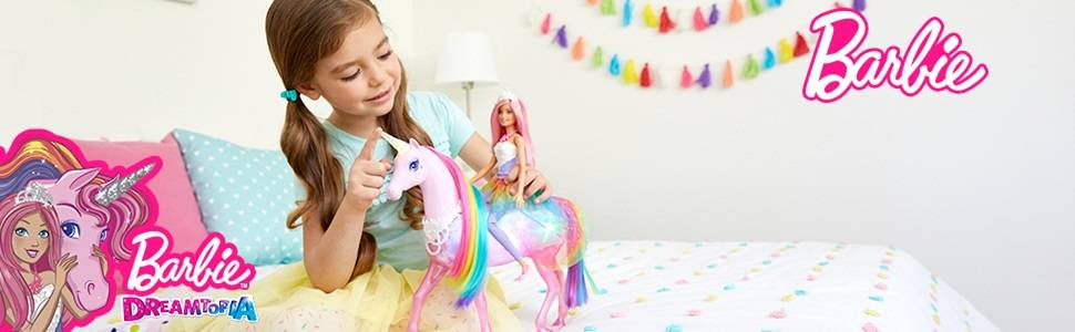 Barbie Dreamtopia Magical Lights Unicorn with Rainbow Mane, Lights and Sounds, Barbie Princess Doll