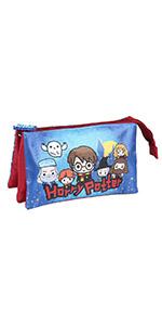 CERD/Á LIFES LITTLE MOMENTS Multicolor Infantil Estuche Triple Escolar de Harry Potter-Licencia Oficial de Warner Bros Studios Unisex ni/ños