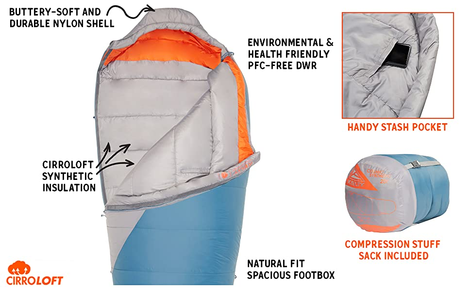 cosmic synthetic sleeping bag kelty details