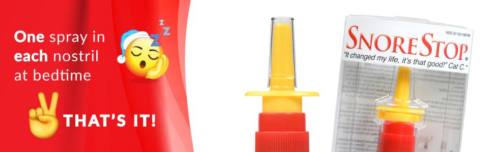 SnoreStop nasal spray at bedtime spray once in each nostril