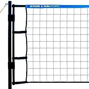 aluminum poles, volleyball net, blue
