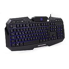 Deep Gaming X-Wing Setup Gaming 4 en 1: Teclado Membrana QWERTY con Ñ retroiluminado, ratón óptico LED 2400 dpi, Auriculares Gamer con micrófono, ...