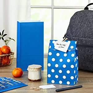 Paper lunch bags for school, work, care packages, birthday goodie bags, candy, treats, and crafts