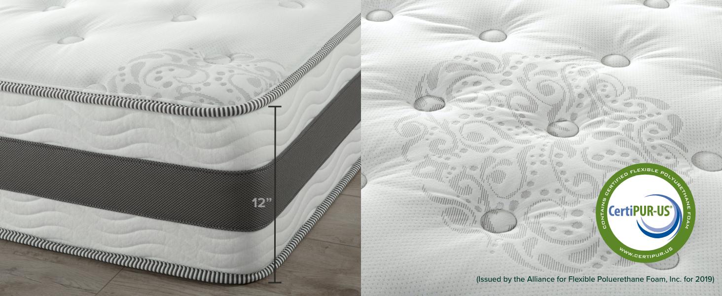 mattress 12inch tall Certipur US Certified