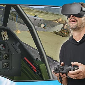 Screenshot from cockpit with inset of guy wearing VR headset and using controller