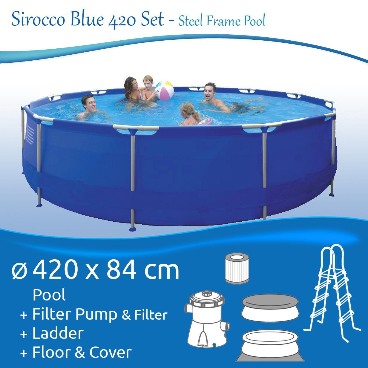 Jilong Sirocco Blue 420 Set - Stahlrahmenbecken Durchmesser 420 x 84 ...