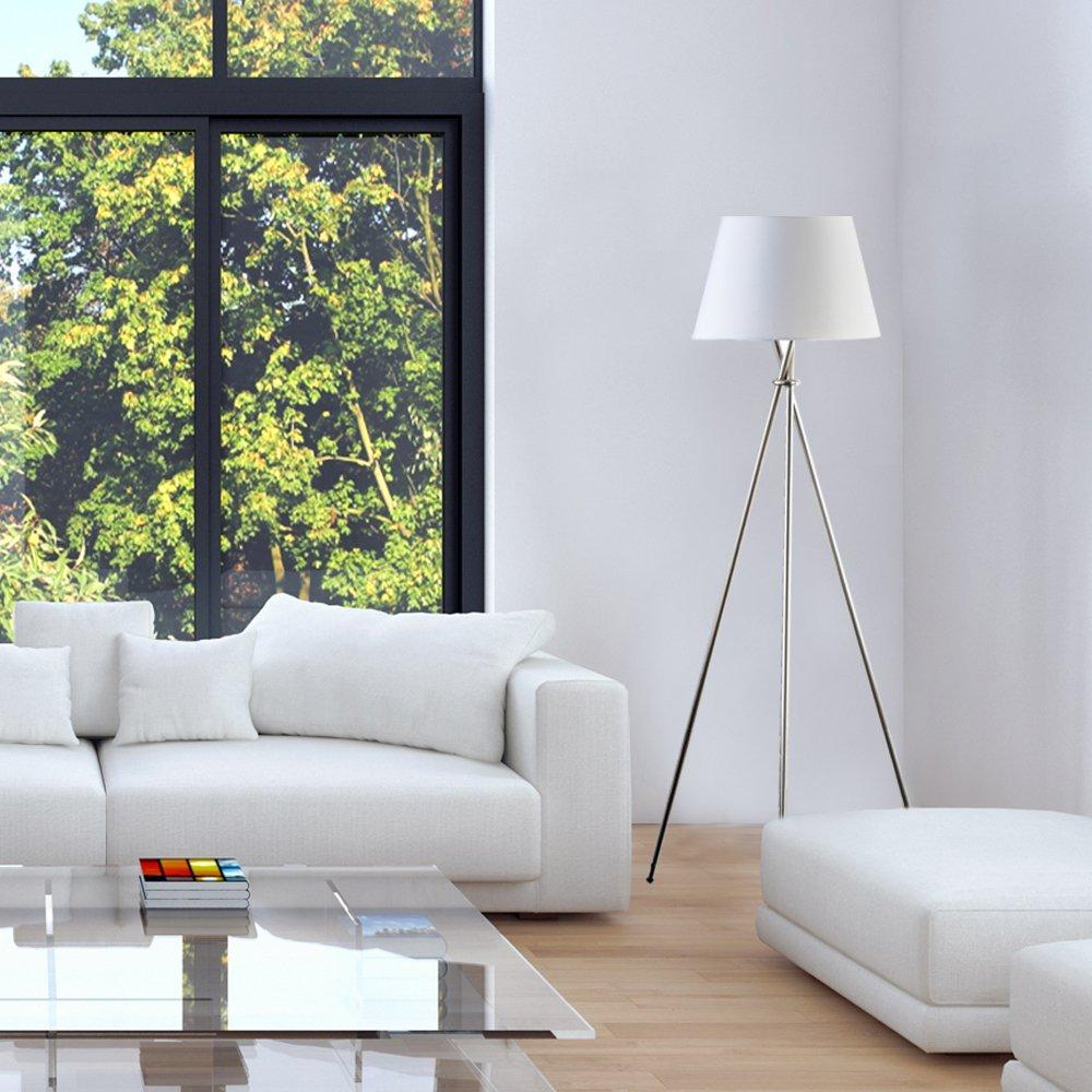 Tripod floor lamp in living room - Catalina Tripod Floor Lamp Brushed Steel