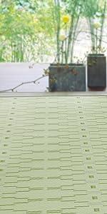 柳 グリーン 緑色 黄緑 和室 使用 イメージ PP ラグ 花ござ 上敷き カーペット い草風 畳 床 保護 汚れ きず 隠す 洋室 模様替え 子供 ペット 水洗いできる