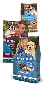 Purina Puppy Chow dry dog food bags