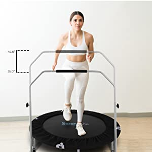 "Portable & Foldable Trampoline;40""in-Home Mini Rebounder w Adjustable;Handrail;Fitness Body Exercise"