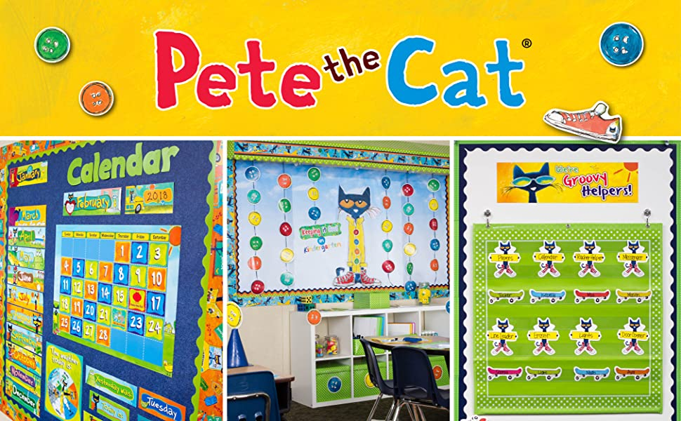 pete the cat theme header with classroom photos