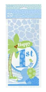 Jumbo Plastic Blue Safari First Birthday Gift Bag Centerpiece Decoration