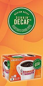 Dunkin Donuts Decaf Keurig K-Cup Pods decaffeinated medium roast coffee 100% Arabica coffee beans