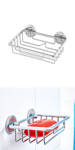 117mm x 250mm x 125mm metallo Cestino cromato per doccia tesa Baath tecnologia di montaggio adesiva autoadesivo