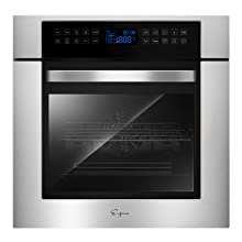 24 inch Electric Single Wall Oven Touch control 9 Functions Stainless Steel Built-in Ovens 240V