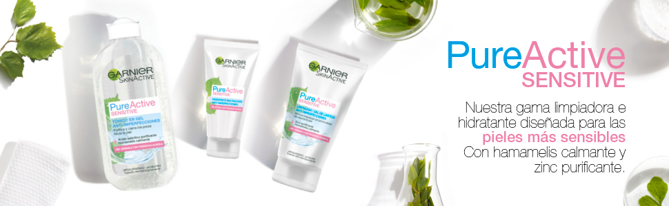 Garnier Skin Active Pure Active Sensitive Limpiador de poros sin Jabón Anti-Imperfecciones para Pieles Sensibles, con Zinc y Extracto de Hamamelis - ...