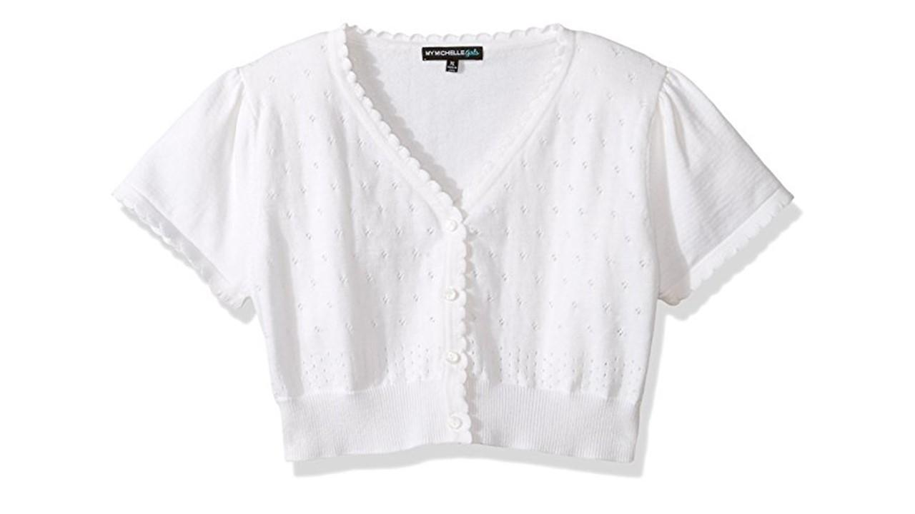 Amazon.com: My Michelle Big Girls' Short Sleeve Pointelle Sweater ...