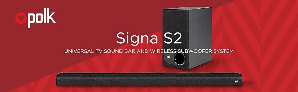 Polk Soundbar sound bar signa s2 wireless subwoofer surround sound home theater