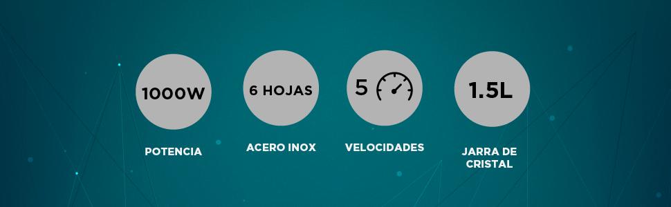 SOGO SS-5530 Batidora SuperCrusher | Licuadora con Jarra de ...