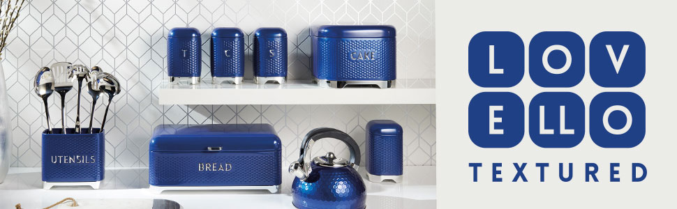 Blue Lovello Retro Tea Coffee Sugar Canisters w//Geometric Textured Finish