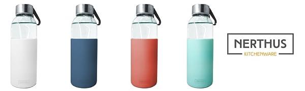 NERTHUS FIH 394 Botella de cristal 400ml, Antideslizante Silicona, color azul 0.4 litros, Vidrio