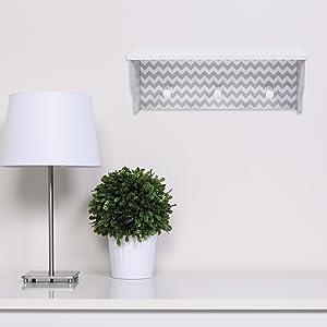 gray chevron wood shelf, gray wood shelf, gray and white wood shelf