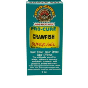 Pro-Cure Crawfish Super Gel in a 2 Ounce squeeze bottle with applicator cap
