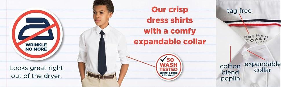 long sleeve, dress shirt, boys, uniform, school, expandable collar, wrinkle resistant