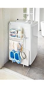 山崎実業 収納ラック 洗濯機横マグネット収納ラック プレート ホワイト 3309