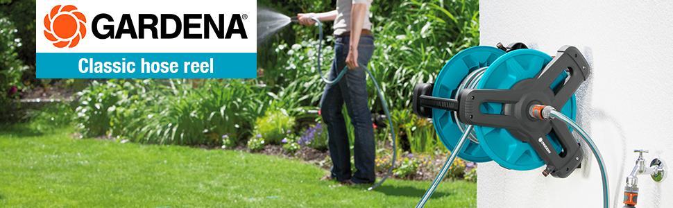 gardena classic wall fixed hose reel 50 set mobile hose. Black Bedroom Furniture Sets. Home Design Ideas