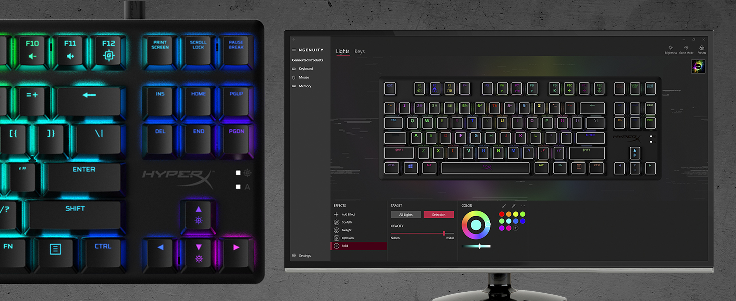 Advanced customization with HyperX NGENUITY Software