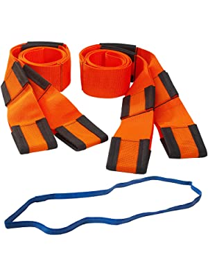 Forearm Forklift Lifting and Moving Straps, 2-Person, Orange, plus Mover's Rubber Band