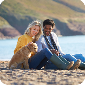 Happy couple sit on a rocky beach, holding hands petting a puppy.